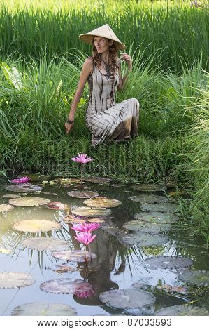 Beautiful Girl In Nature, Close Up