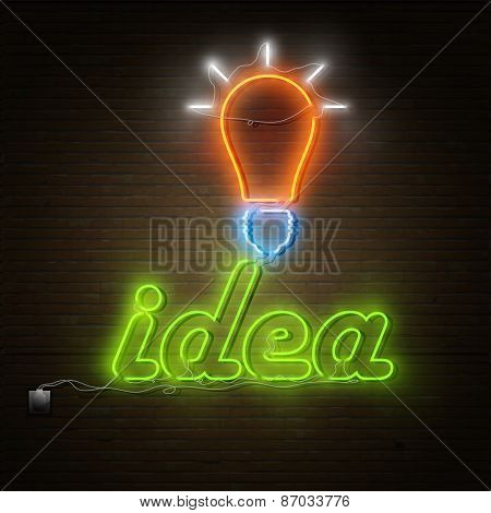 Neon Idea Text With Electricity Lightbulb.
