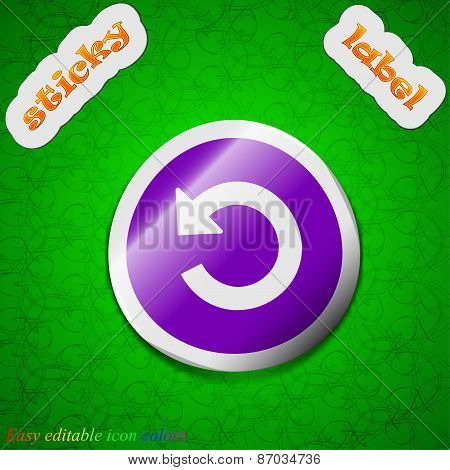 Icon Sign. Symbol Chic Colored Sticky Label On Green Background. Vector