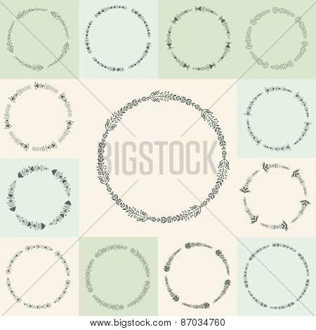 Set of 13 hand-drawn vector flourish circle and frames Vector illustration in vintage style. Hand Drawn graphic and decorative elements