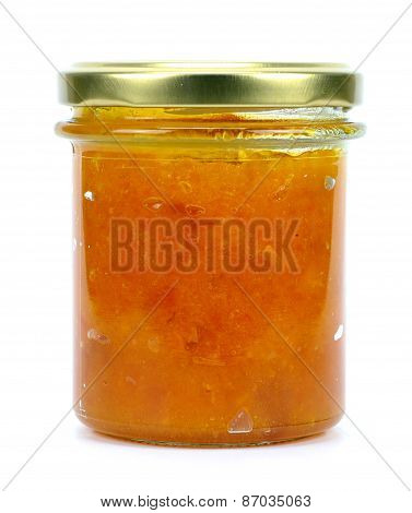 Jar Of Apricot Or Peach Jam Isolated On White Background