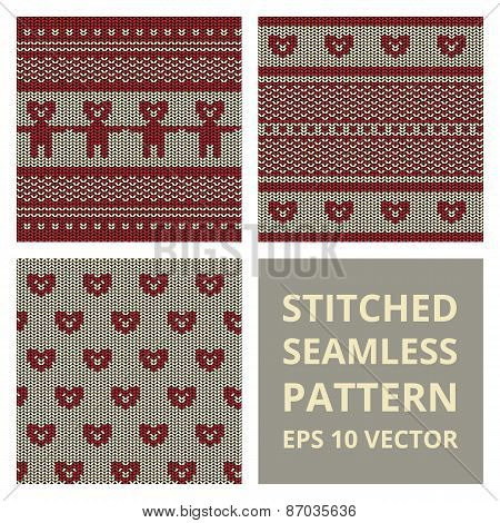Fabric Stitched Background Pattern With Silhouette