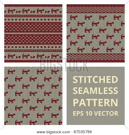 Fabric Stitched Background Pattern With Silhouette Of Cat