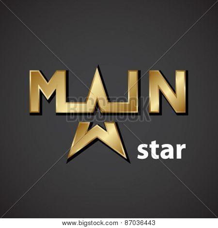 vector main golden star inscription icon