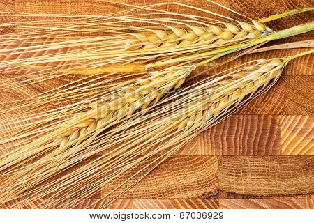 Beautiful Ears Of Oats With Mature Grains Lie On Brown Wooden Board
