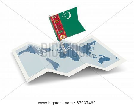 Map With Flag Of Turkmenistan