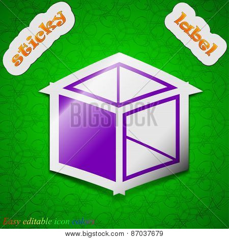 3D Cube Icon Sign. Symbol Chic Colored Sticky Label On Green Background. Vector