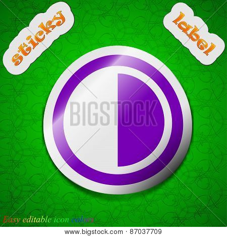 Contrast Icon Sign. Symbol Chic Colored Sticky Label On Green Background. Vector