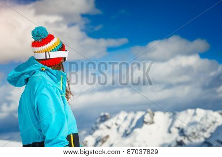 Girl Freeride Skier, Look At The Distant Mountains