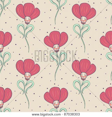 Beige Spring Or Summer Seamless Pattern