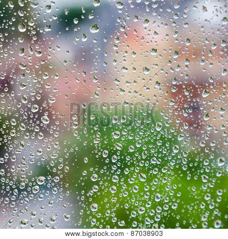 Wet Glass With Droplets, Colorful Square Photo