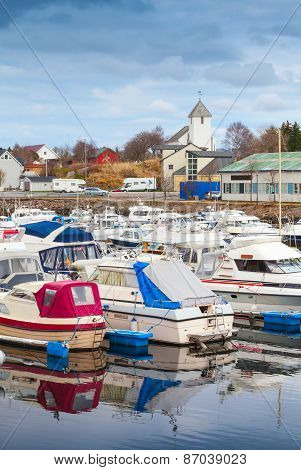 Typically Norwegian Fishing Village Landscape