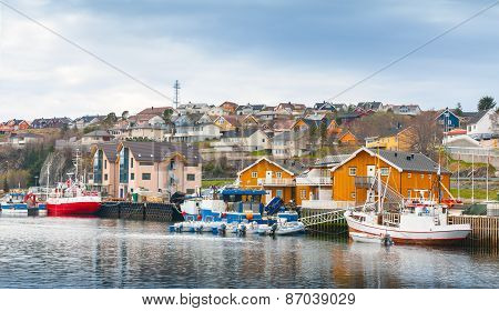 Fishing Village, Wooden Houses And Boats, Norway