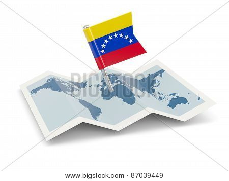 Map With Flag Of Venezuela