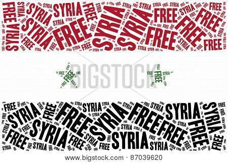 Free Syria. Word Cloud Illustration.