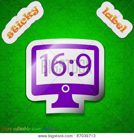 Aspect Ratio 16 9 Widescreen Tv Icon Sign. Symbol Chic Colored Sticky Label On Green Background. Vec