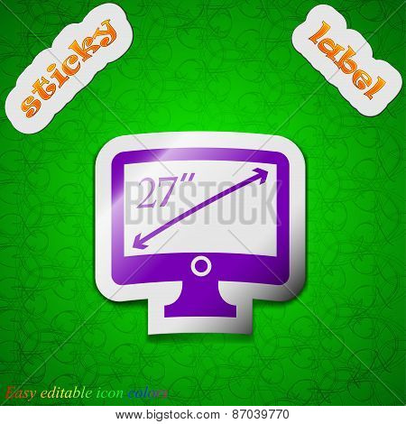 Diagonal Of The Monitor 27 Inches Icon Sign. Symbol Chic Colored Sticky Label On Green Background. V
