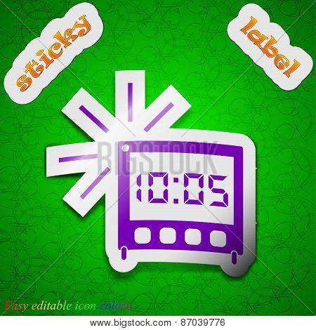 Digital Alarm Clock Icon Sign. Symbol Chic Colored Sticky Label On Green Background. Vector