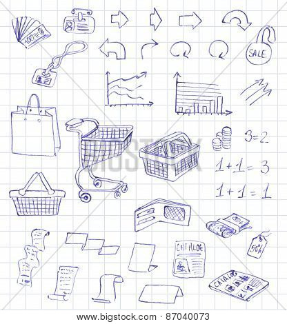 Set hand draw pictogram supermarket services