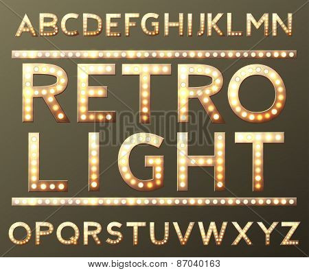 vector golden alphabet with bulb lamps