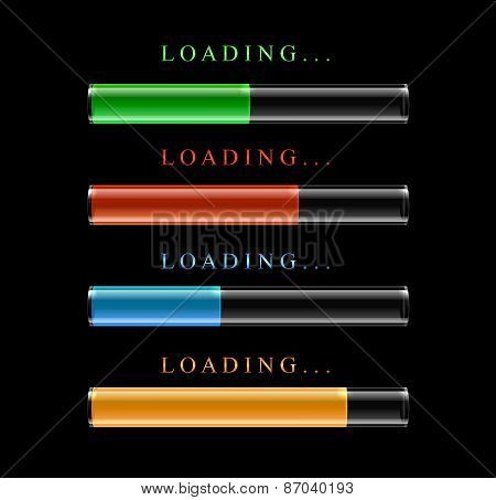 Four modern preloaders or progress loading bars.