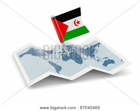 Map With Flag Of Western Sahara