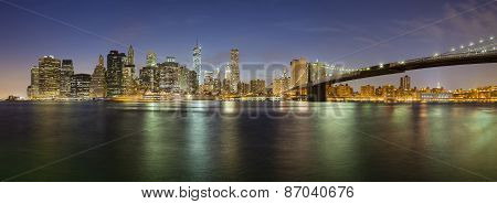 Manhattan Skyline Panorama At Night