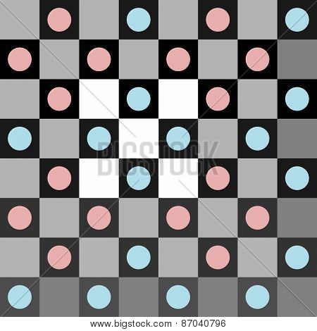 Abstract blue pink gray polka dot op art background