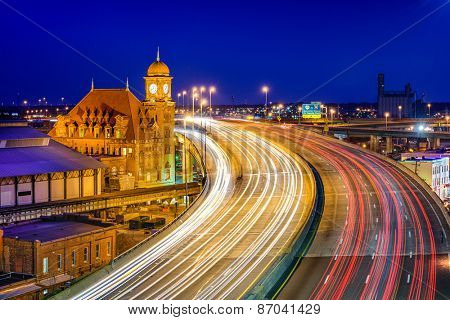 Richmond, Virgina, USA at historic Main Street Station and Interstate 95.