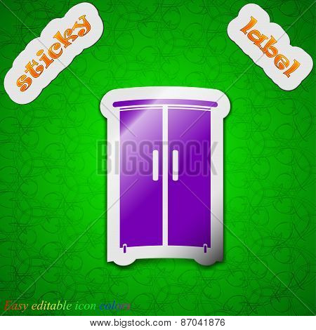 Cupboard Icon Sign. Symbol Chic Colored Sticky Label On Green Background. Vector