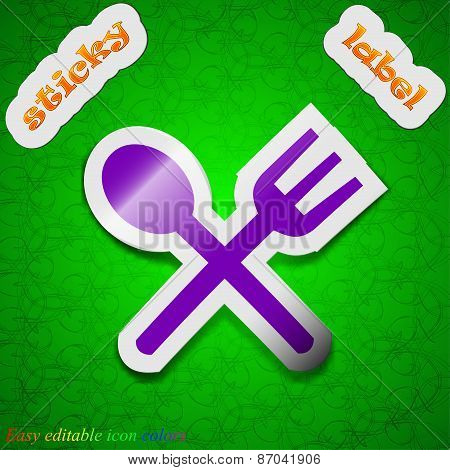 Fork And Spoon Crosswise, Cutlery, Eat Icon Sign. Symbol Chic Colored Sticky Label On Green Backgrou