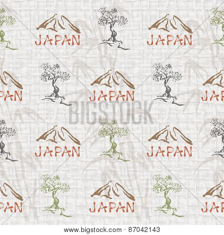 Abstract Seamless Background With Japan Symbols