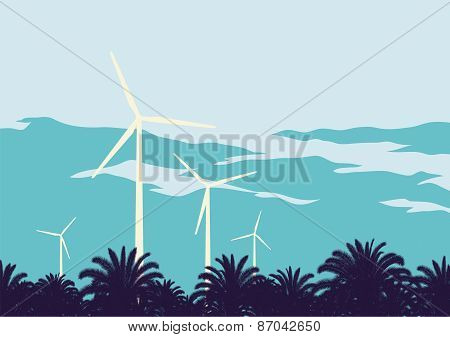 Wind Turbines Against The Sky Background