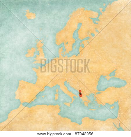 Map Of Europe - Albania (vintage Series)