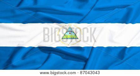 Nicaragua Flag On A Silk Drape Waving