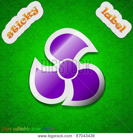 Fans, Propeller Icon Sign. Symbol Chic Colored Sticky Label On Green Background. Vector