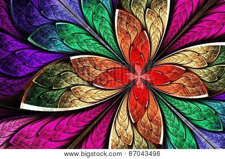 Beautiful Multicolored Fractal Flower In Stained Glass Window Style. Computer Generated Graphics.