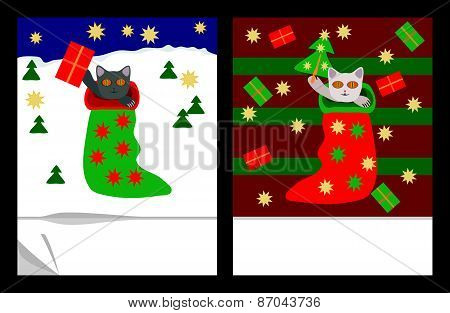 Cute christmas kittens in socks with gifts, stars and trees