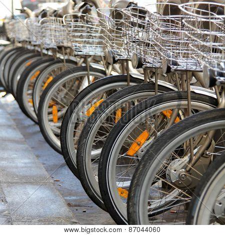 PARIS, FRANCE MARCH 5, 2015:  Rob of bicycles. Velib' is Paris public bike system in Paris, France.