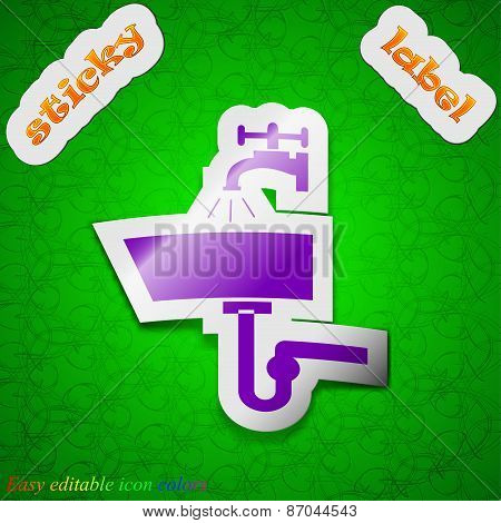 Washbasin Icon Sign. Symbol Chic Colored Sticky Label On Green Background. Vector