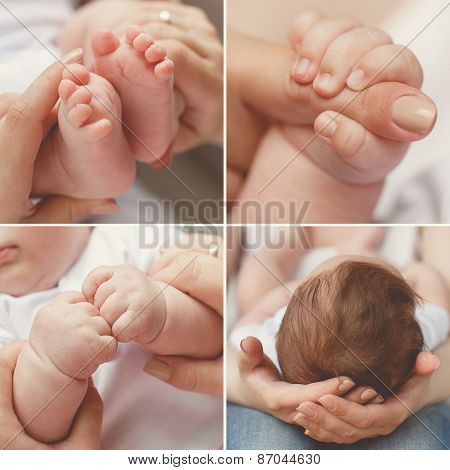 Close-up of baby's hands and feet collage