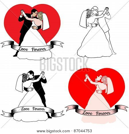 sketches of beautiful young bride and groom in dance