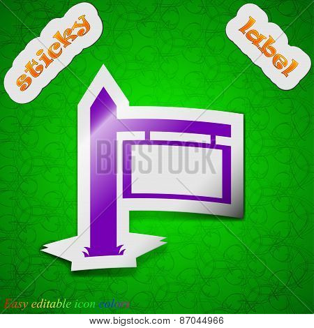 Information Road Sign Icon Sign. Symbol Chic Colored Sticky Label On Green Background. Vector