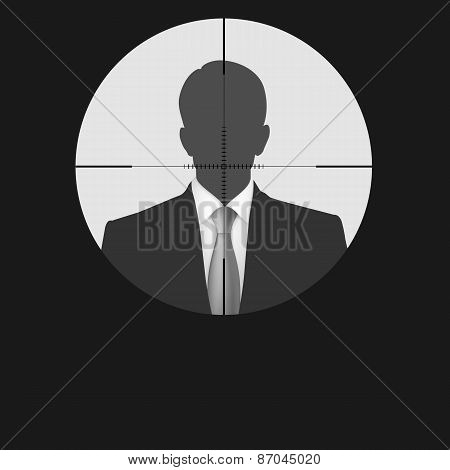 Sniper scope crosshair man silhouette.