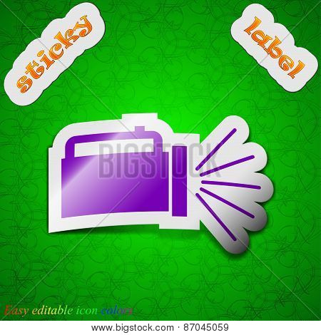 Flashlight Icon Sign. Symbol Chic Colored Sticky Label On Green Background. Vector