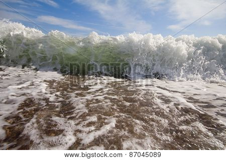 Sea Surf Foamy Beach Wave Nearby