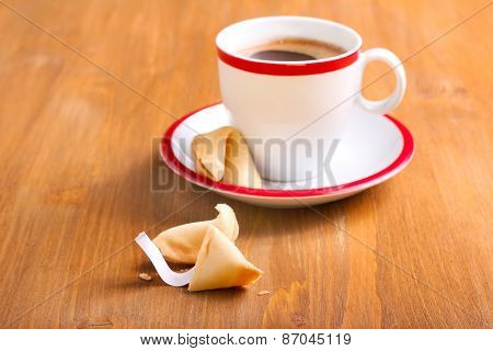 Cup Of Coffee And Fortune Cookie