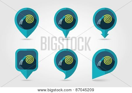 Garden Hose Flat Mapping Pin Icon With Long Shadow