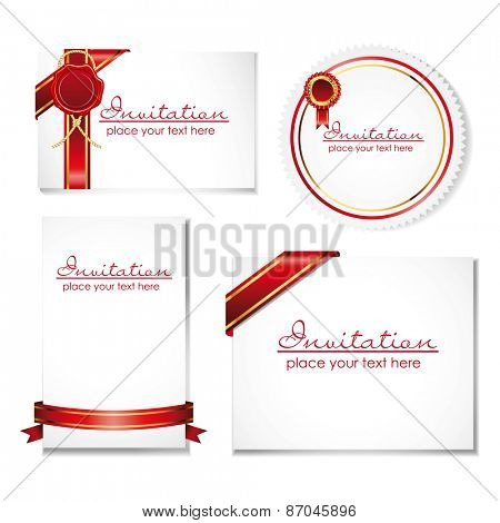 collection of card note with ribbon and wax seal