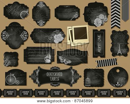 Chalkboard Labels, Frames and Tickets - Set of grunge blackboard labels and frames, with weathered, chalky texture, vintage objects and ephemera, including flowers, branches, butterfly and swirls
